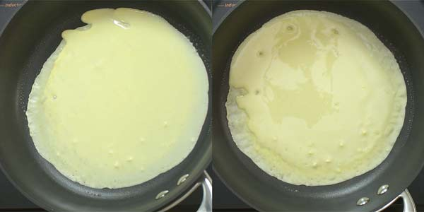 tilting the skillet and spreading the crepe batter