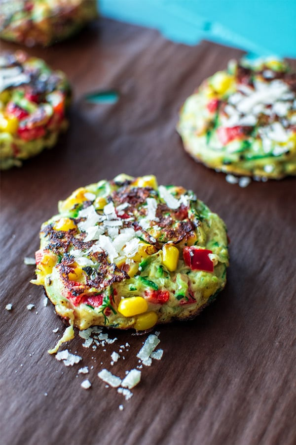 Delightful zucchini fritters made with corn and bell peppers.