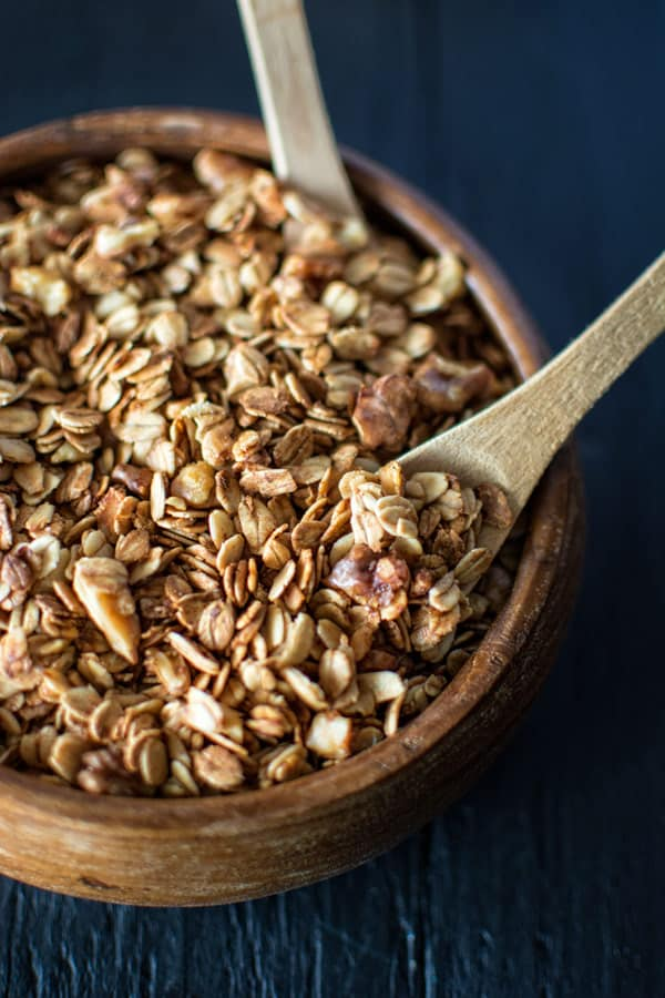 Simple Homemade Granola in a wooden bowl