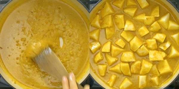 making the curry sauce and adding potatoes