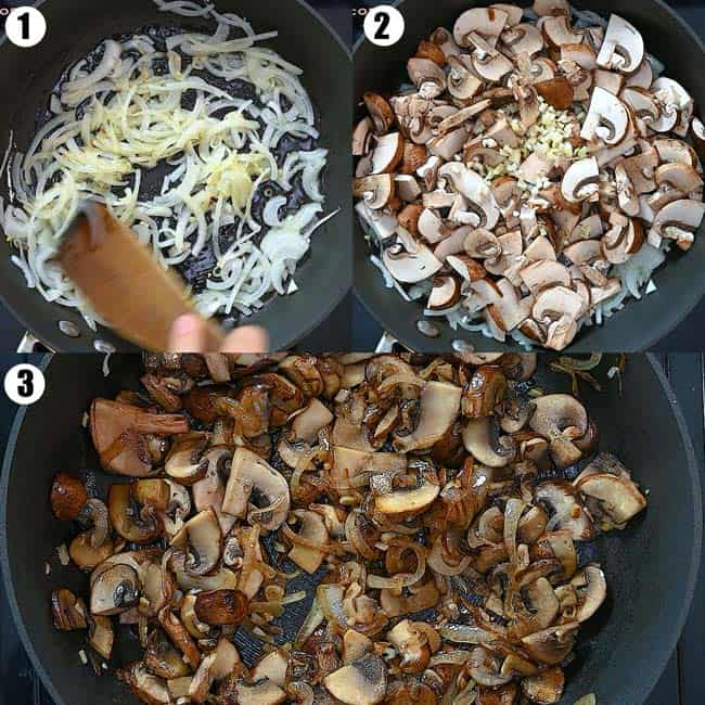 cooking onions and mushrooms in oil
