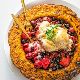 Sweet pumpkin served with warm berries and homemade banana ice cream. No sugar added! ? tgncooking.com