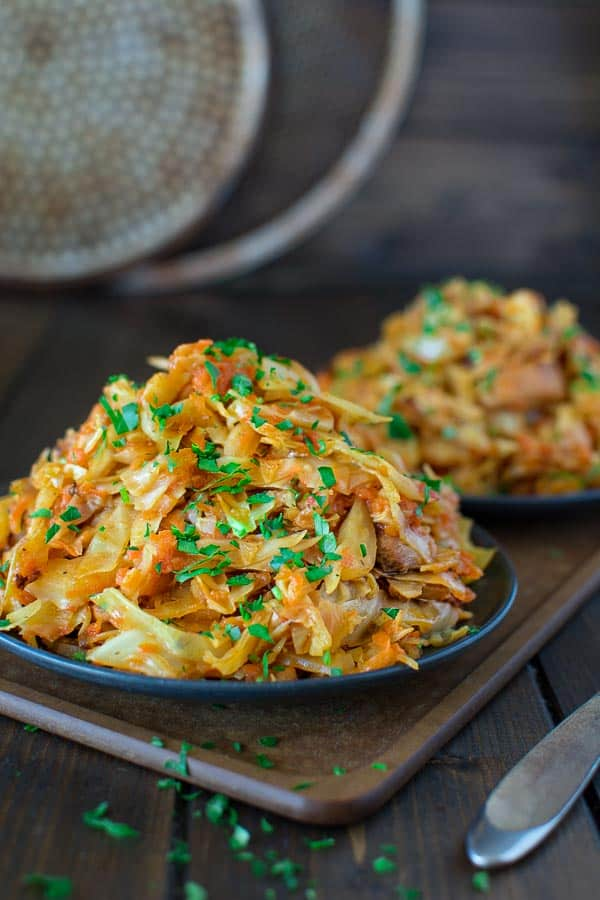 Succulent cabbage sauteed with tender chicken and vegetables. Just a few ingredients and about 15 minutes of active time make this delicious dinner. This is my #1 Best Recipe yet!