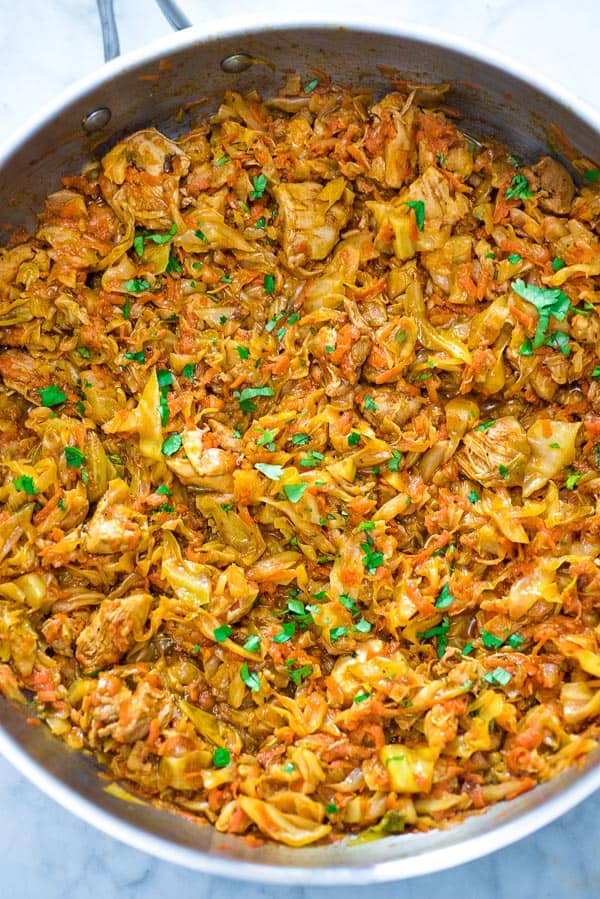 This succulent Cabbage and Chicken is hearty, filling, and so delicious. Just a few ingredients and about 15 minutes of active cooking time make up this amazing dinner. This is my #1 Best Recipe yet!