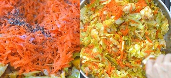 adding carrots and spices to cabbage