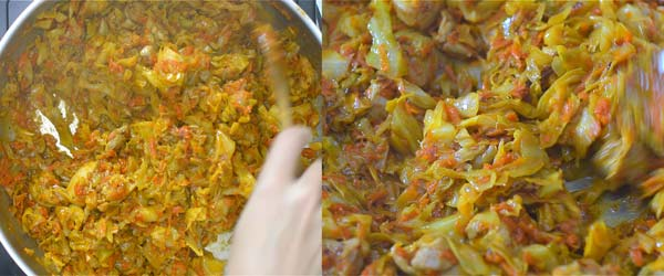 cooking the cabbage with chicken