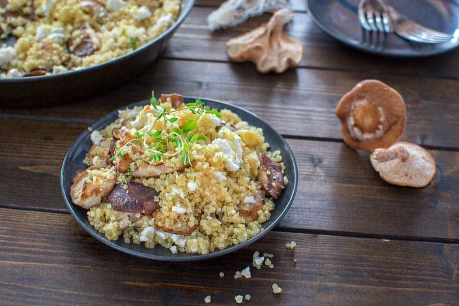 Quick and healthy Quinoa with Mushrooms and Feta makes a tasty and protein-packed lunch or dinner. ? tgncooking.com