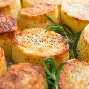 Crispy on the outside, tender and creamy on the inside, cooked with butter and a hint of garlic, these Rosemary Fondant Potatoes make simple yet elegant side dishes! ? tgncooking.com