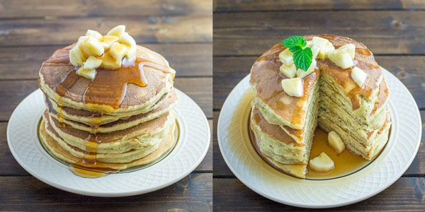 These Healthy Banana Pancakes are so easy to make and so fluffy and tasty. And there?s no added sugar! At 140 calories per pancake, these are a must try. ? tgncooking.com