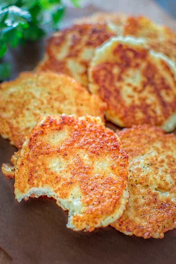 Potato pancakes with a bite in it