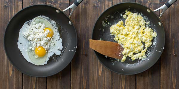 frying eggs in the skillet