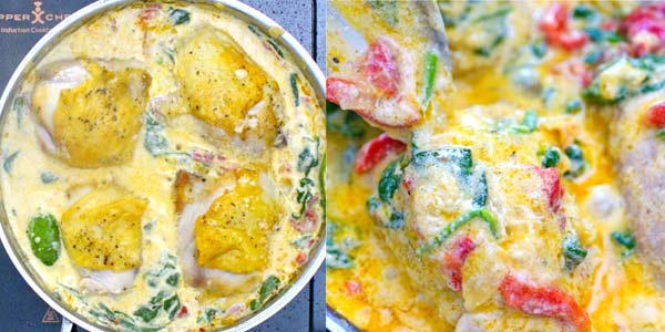 These tender Creamy Chicken Thighs are loaded with flavor! Spinach, roasted peppers, onions, Parmesan and cream, come together to create an absolutely scrumptious sauce. ? tgncooking.com