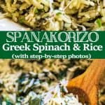 This simple, delicious, and authentic Spanakorizo (Greek Spinach Rice) makes a filling vegetarian meal or a side dish. Fresh dill, chives, and lemon juice give it an extraordinary flavor and aroma.