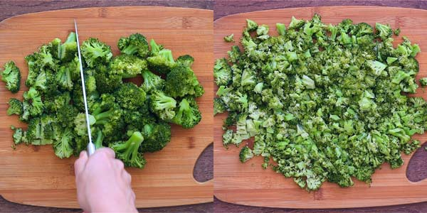 chopping broccoli for fritters