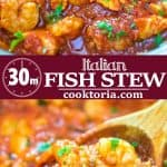 Salmon fillets and shrimp cooked in a tomato sauce with onions, garlic, and fresh herbs. This Italian Fish Stew makes an easy and scrumptious dinner, and comes together in less than 30 minutes.