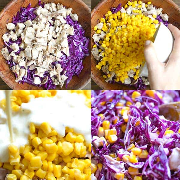 Adding the dressing to Red Cabbage and Corn Salad