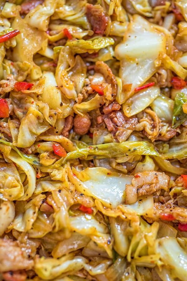 Fried Cabbage with bacon from up close