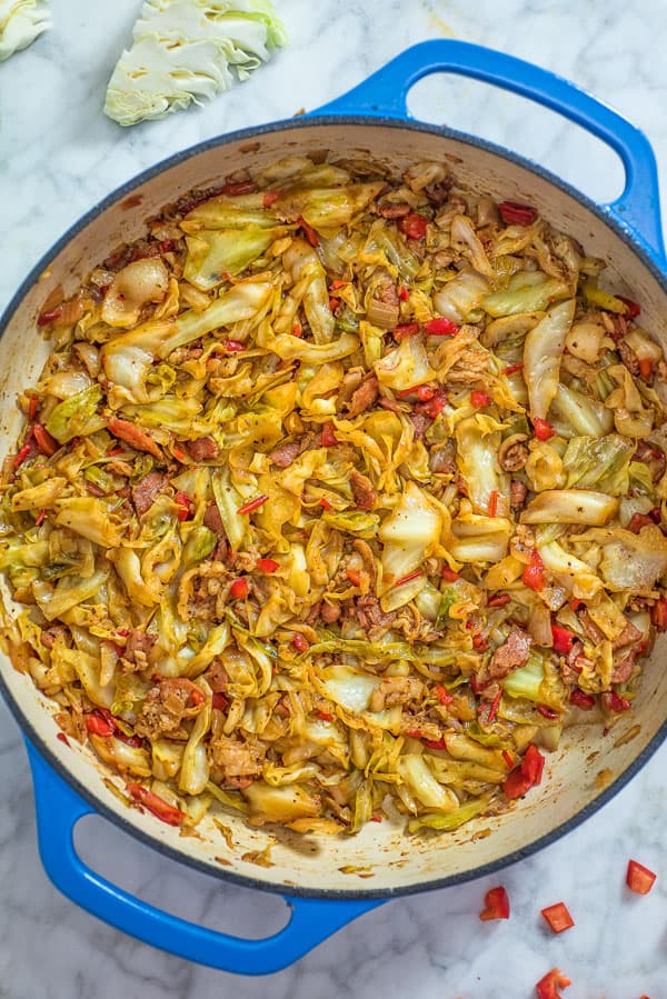 Fried Cabbage in a blue skillet