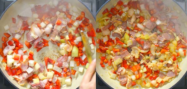 cooking bacon with onions and peppers