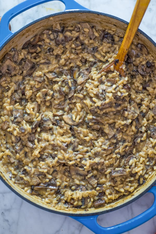 Mushroom Risotto on a wooden spoon