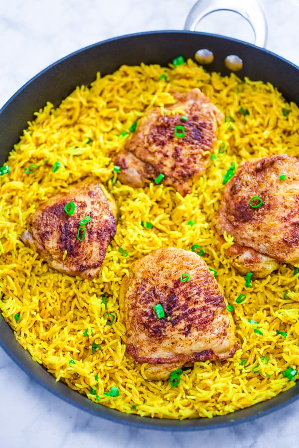 This easy and flavorful Chicken and Yellow Rice Skillet makes a quick and delicious dinner for the whole family. This is a MUST TRY recipe. ?