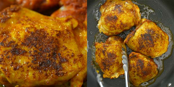 frying the chicken in oil