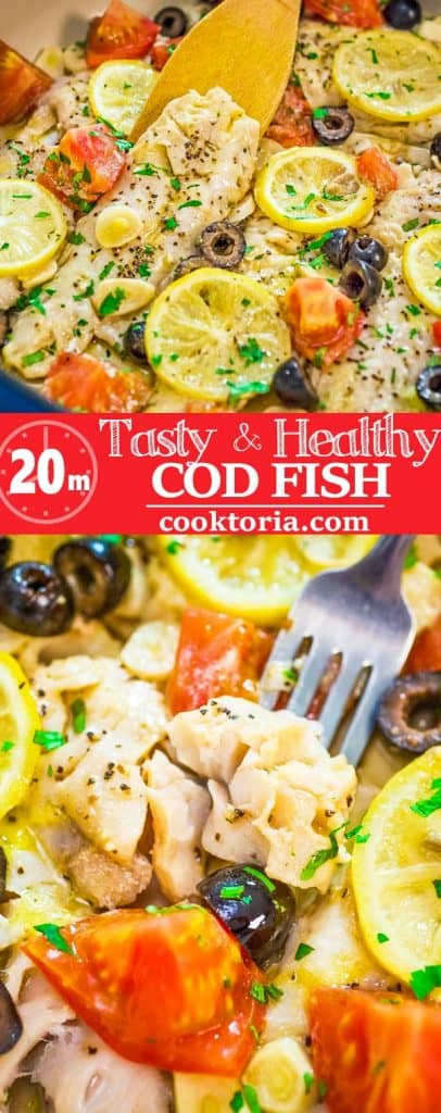 This incredibly delicious and healthy Cod Fish Skillet is going to become your favorite dinner! Create a taste of the Mediterranean with this simple, yet elegant, meal. #fish #seafood #cod #dinner #easydinner #recipeoftheday