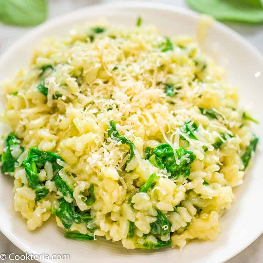 Spinach Risotto on a white plate