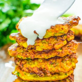 These Vegetable Fritters are truly the best! Made with zucchini, carrot, and corn, they make a great lunch or snack, and you will not be able to stop at one!?