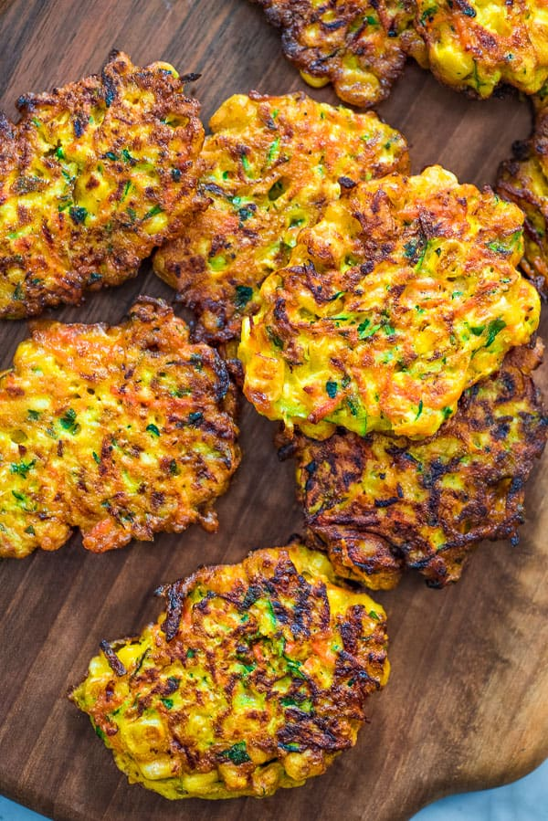 Vegetable Fritters on a wooden board