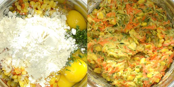 adding eggs and flour to the batter