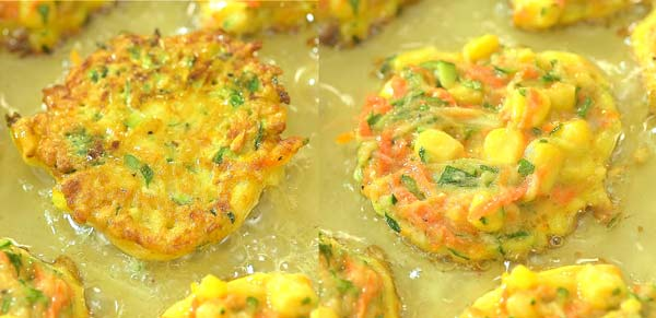 frying vegetable fritters in oil