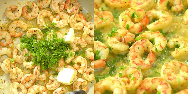 adding parsley and butter to the shrimp scampi sauce