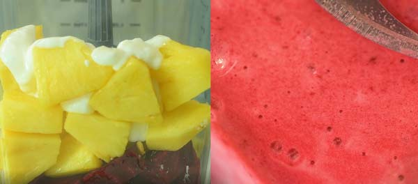adding all of the ingredients to the blender and making beet smoothie