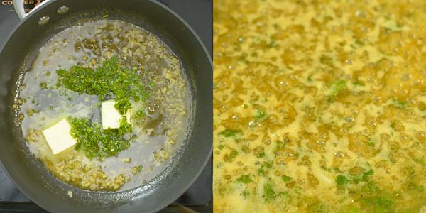 making the butter sauce for Cajun Salmon