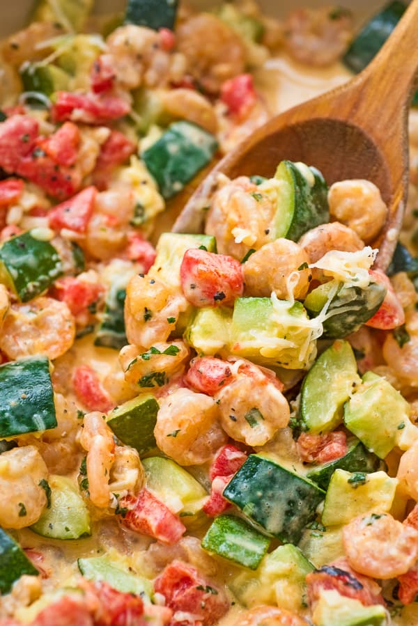 This elegant and scrumptious Creamy Shrimp and Zucchini Skillet is a restaurant-worthy dish, made in 30 minutes. Keto friendly.