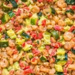 This elegant and scrumptious Creamy Shrimp and Zucchini Skillet is a restaurant-worthy dish, made in 30 minutes. Keto friendly. #shrimps #seafood #dinner #easyrecipe #keto #zucchini #mealprep
