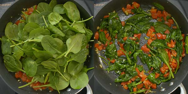 cooking spinach with roasted peppers