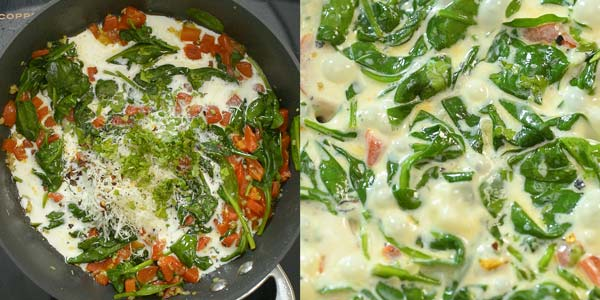 making the cream sauce for salmon