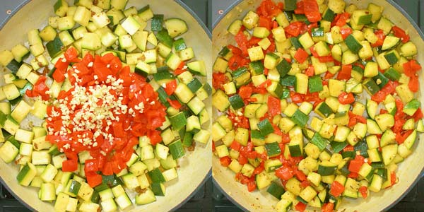 cooking roasted peppers with garlic and zucchini
