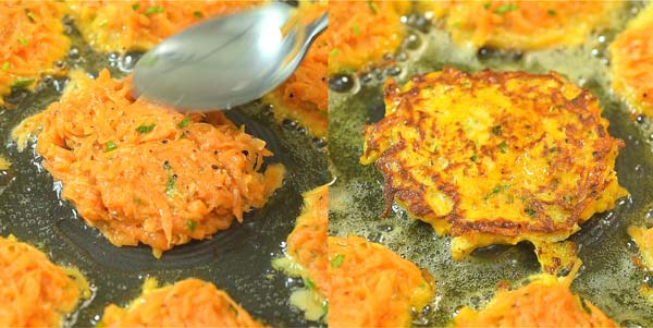 frying sweet potato hash browns in the skillet