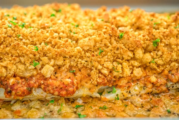 Baked Cod on a tray close up shot