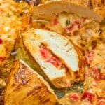 This Roasted Pepper Stuffed Chicken Breast is, hands down, the most delicious way to enjoy chicken! It?s easy to make, and you will feel like you?re eating in a 5-star restaurant. #chicken #dinner #lunch #mealprep #keto #ketosis #ketorecipe #lowcarb #videorecipe
