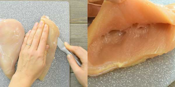 cutting the pocket in chicken breast with sharp knife