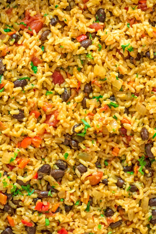 rice and beans from up close