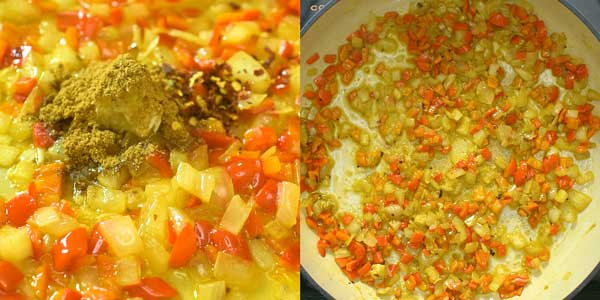 Adding garlic, cumin, and roasted pepper flakes to the skillet