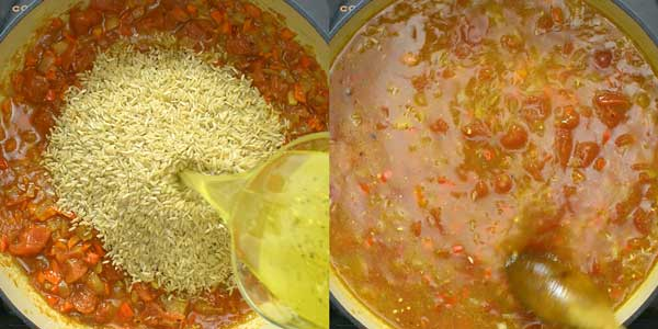 adding brown rice and vegetable broth to the skillet