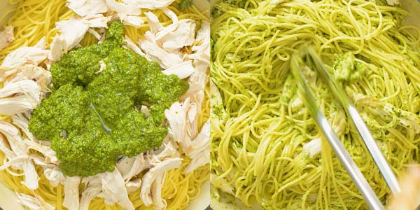 mixing together pasta, pesto, and chicken