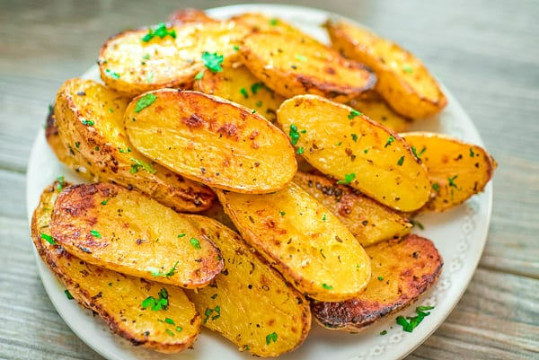 roasted fingerling potatoes on a plate
