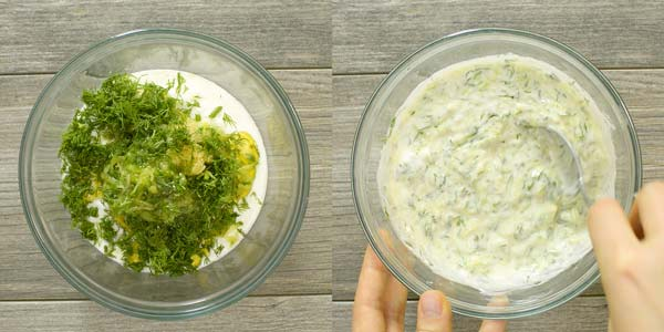 mixing all of the tzatziki ingredients together